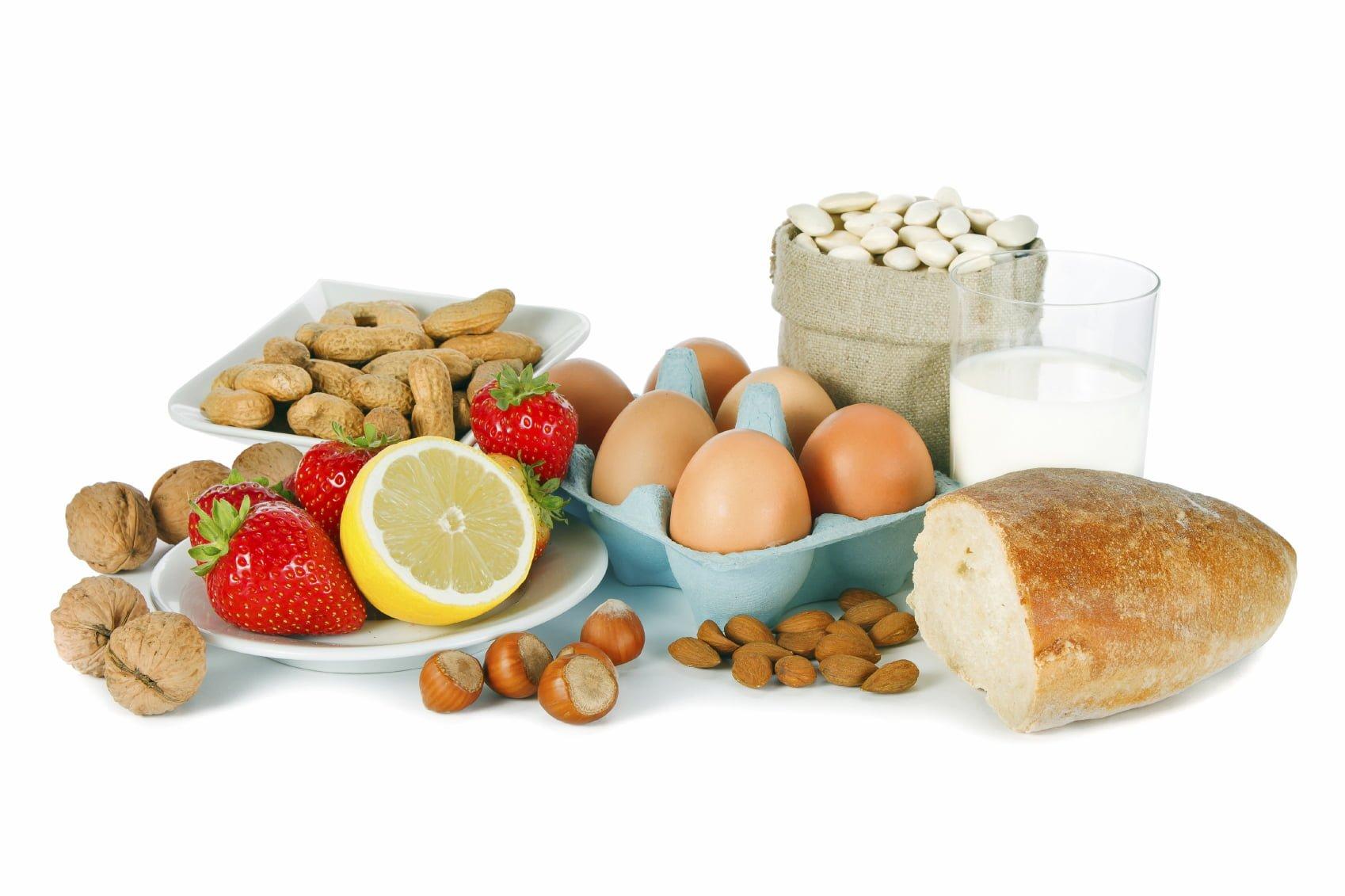 Food allergens (milk, eggs, bread, tree nuts, peanuts, fruits, etc.)