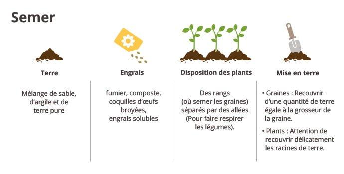 Semer (quelle terre et engrais choisir, comment disposer ses plants, comment efectuer la mise en terre)