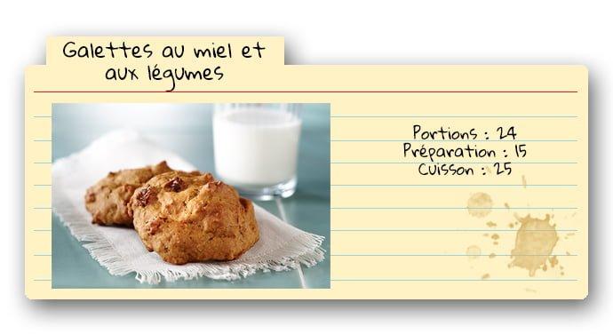 Carte de recette de galettes au miel et aux légumes