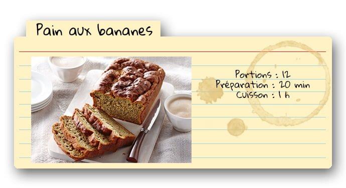 Carte de recette pour pain aux bananes