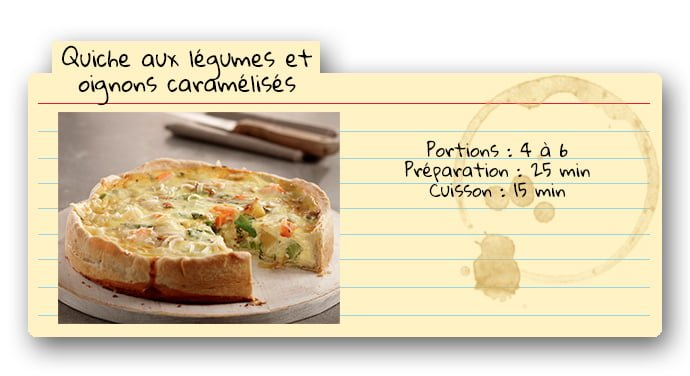 Carte de recette pour quiche aux légumes et oignons caramélisés