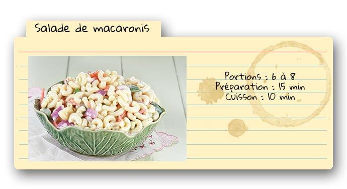 Carte de recette pour salade de macaronis