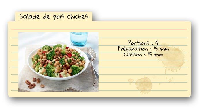 Carte de recette pour salade de pois chiches
