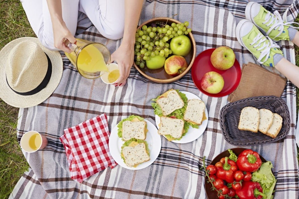 Picnic on a blanket with kids