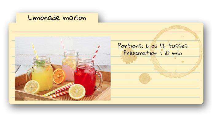 Carte de recette pour la limonade maison