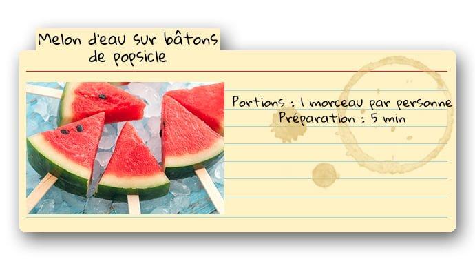 Carte de recette pour collation au melon d'eau