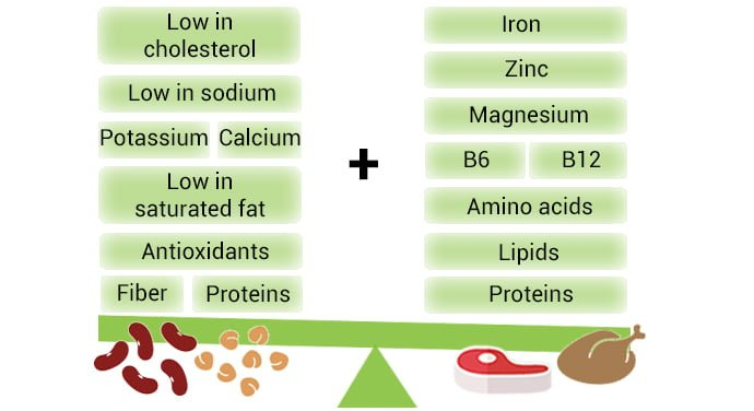 Benefits of vegetarians food and meat