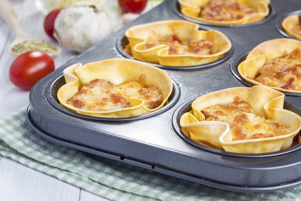 Cupcakes lasagna in a muffin tin