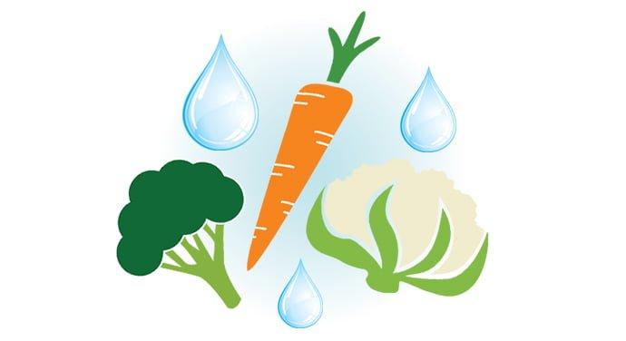 Légumes et gouttes d'eau