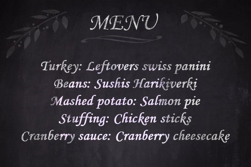 Thanksgiving leftovers menu