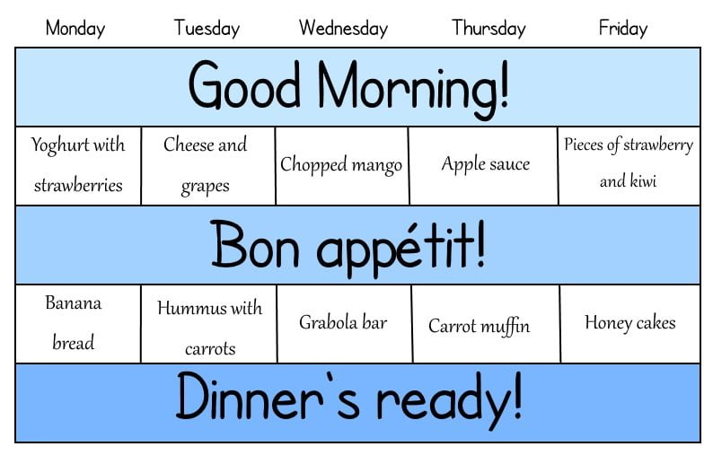 Snack's schedule for a week