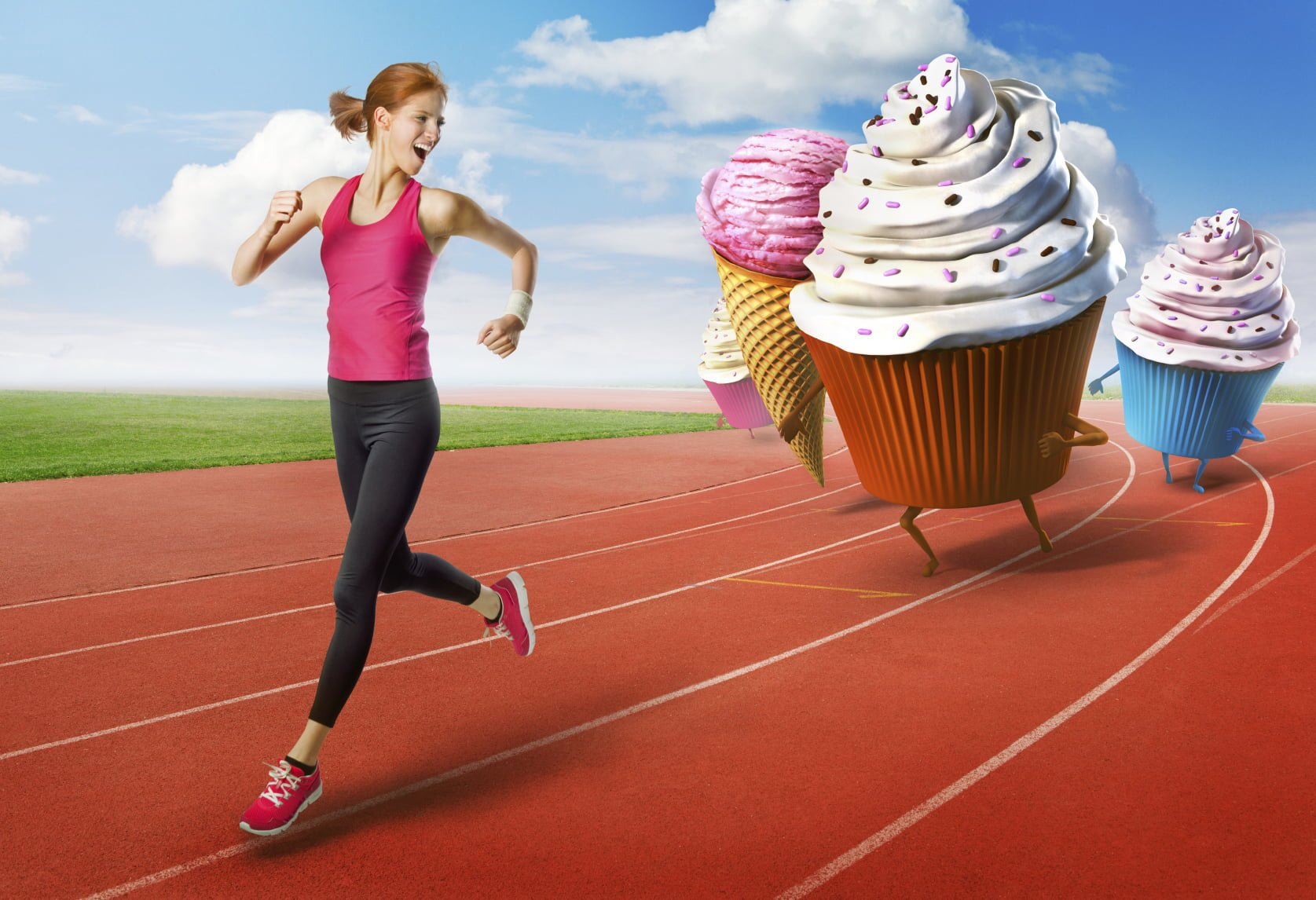 Femme fuyant les cupcakes