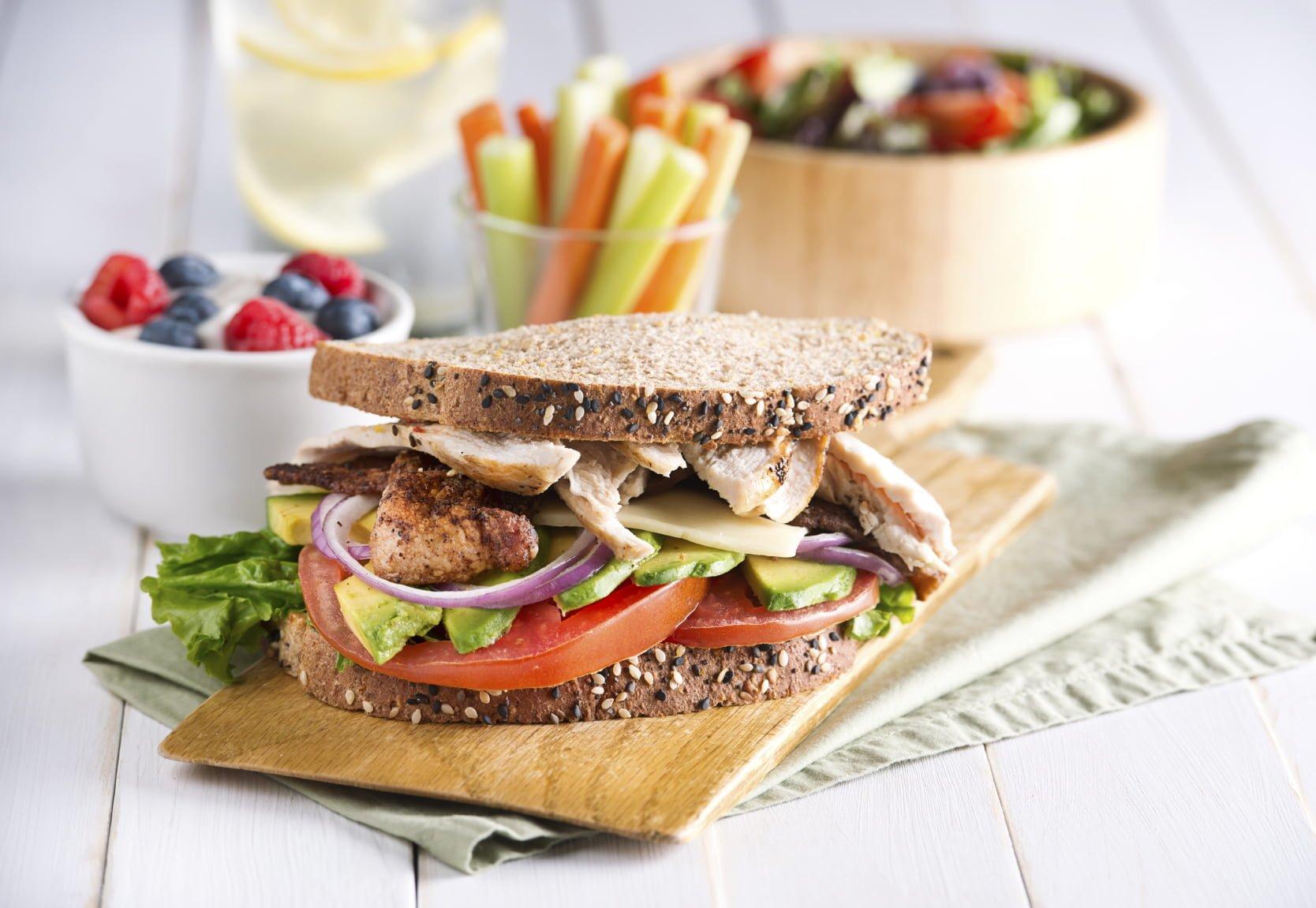 sandwich, veggies and fruit yoghurt