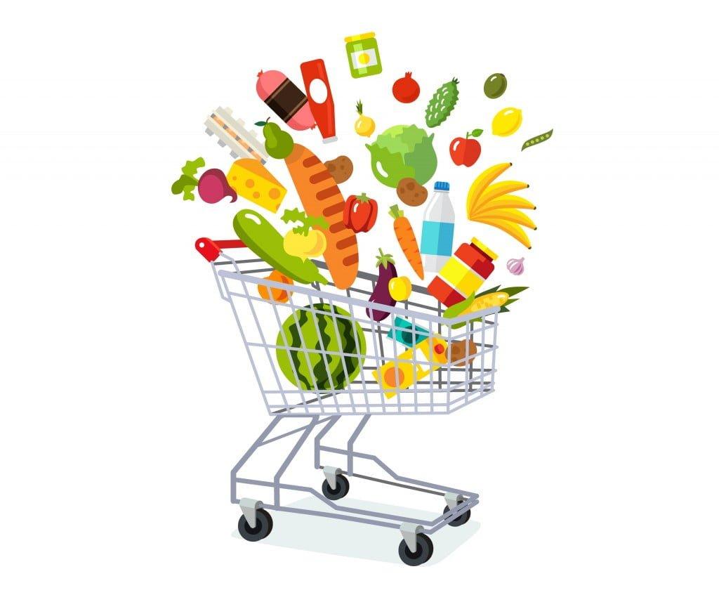 Full shopping grocery cart