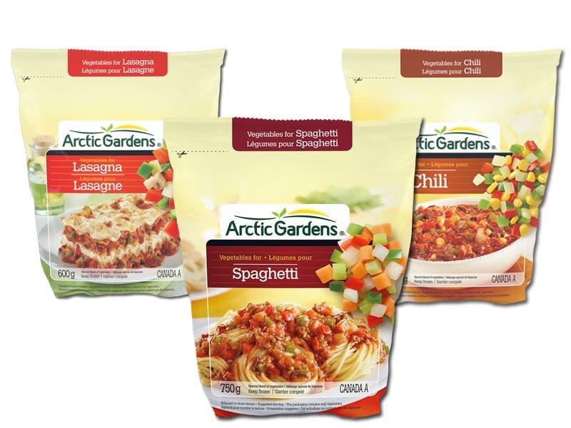 Sacs de légumes Arctic Gardens - Lasagne, spaghetti et chili