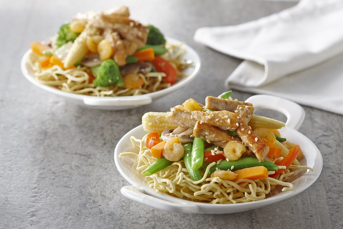 Sauté thaïlandais aux légumes, porc et crevettes