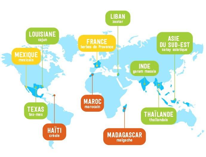 Carte du monde des épices