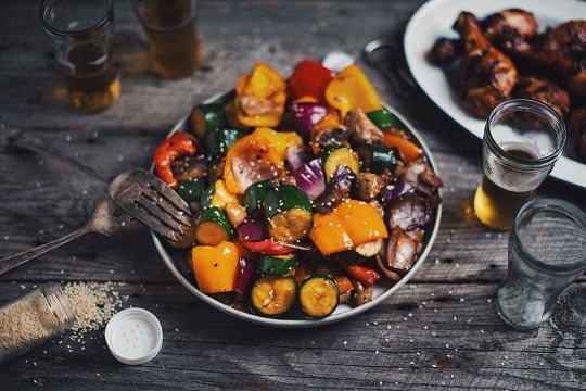 BBQ wok grilled maple vegetables