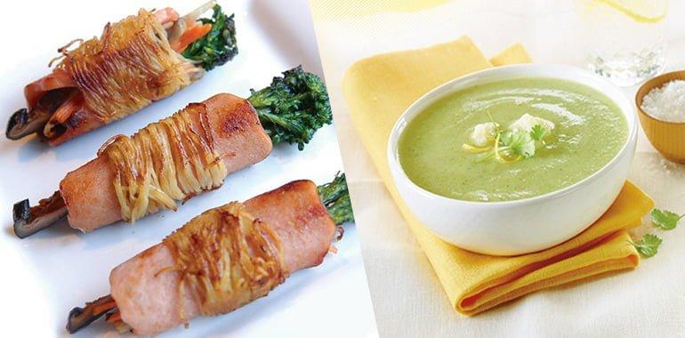 Rouleaux et soupe brocoli