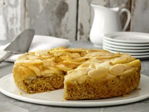 Upside-down apple corn cake