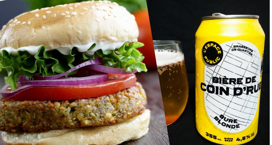 burger falafel et bière