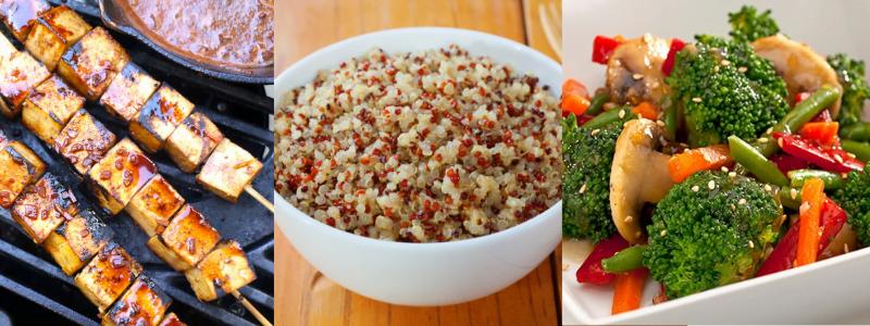 tofu, quinoa, légumes