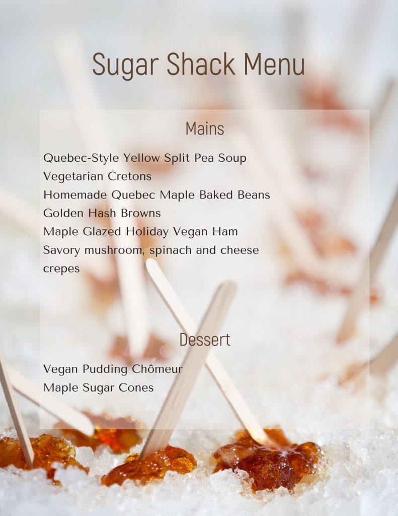 Sugar Shack menu
