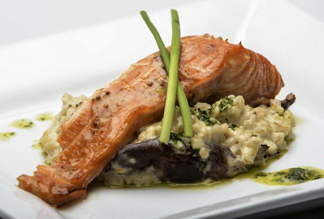 Salmon and barley risotto