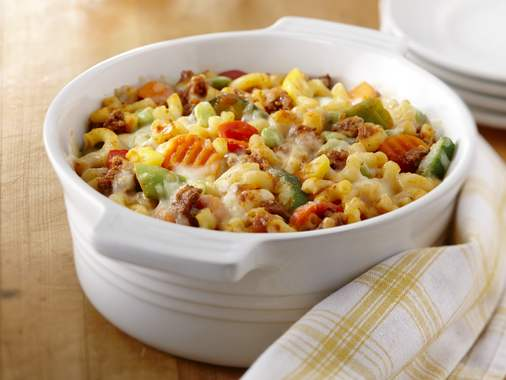 Macaroni casserole with meat and vegetables