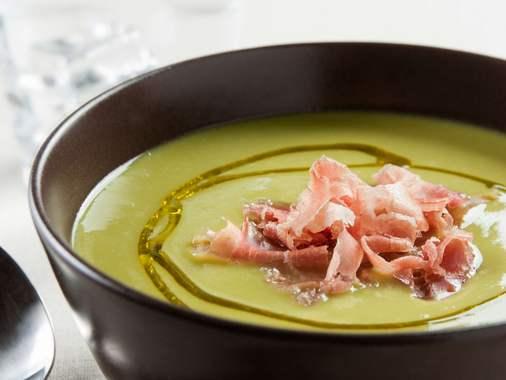 Parmesan & pancetta pea soup