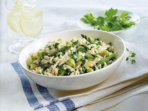 Orzo and green chick peas