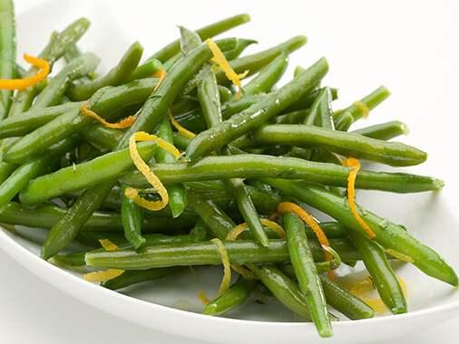 Green beans in tarragon butter and lemon zest