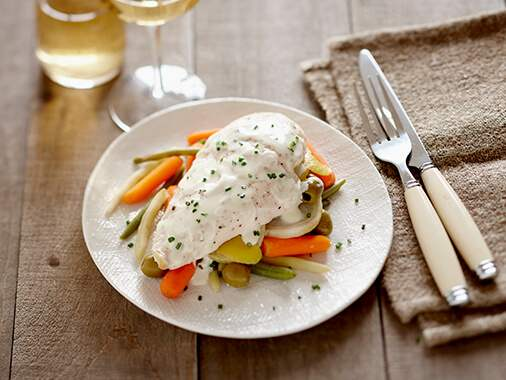 Slow Cooker Vegetable Chicken with Olives and Goat Cheese