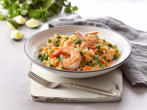 Riced cauliflower bowl with shrimp and lemongrass
