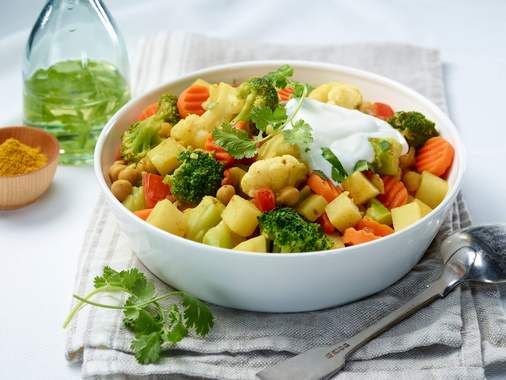 Curried potatoes and vegetables
